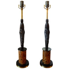 Pair of Midcentury African Inspired Modernist Lamps