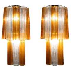 Pair of Midcentury Amber and Clear Murano Glass Scones