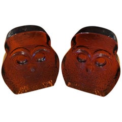 Pair of Midcentury Amber Glass Owl Bookends by Blenko