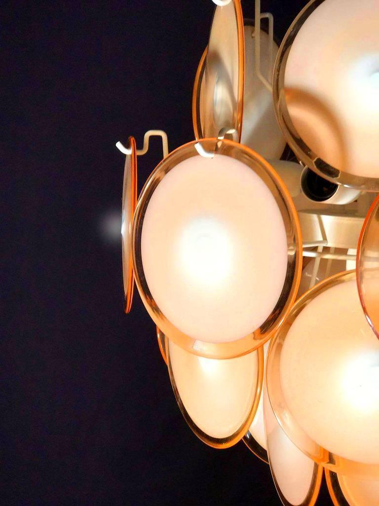 Pair of Midcentury Amber Murano Glass Discs Italian Chandeliers, 1970s For Sale 4