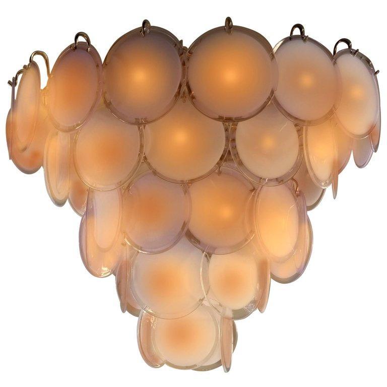 Pair of Midcentury Amber Murano Glass Discs Italian Chandeliers, 1970s For Sale 5
