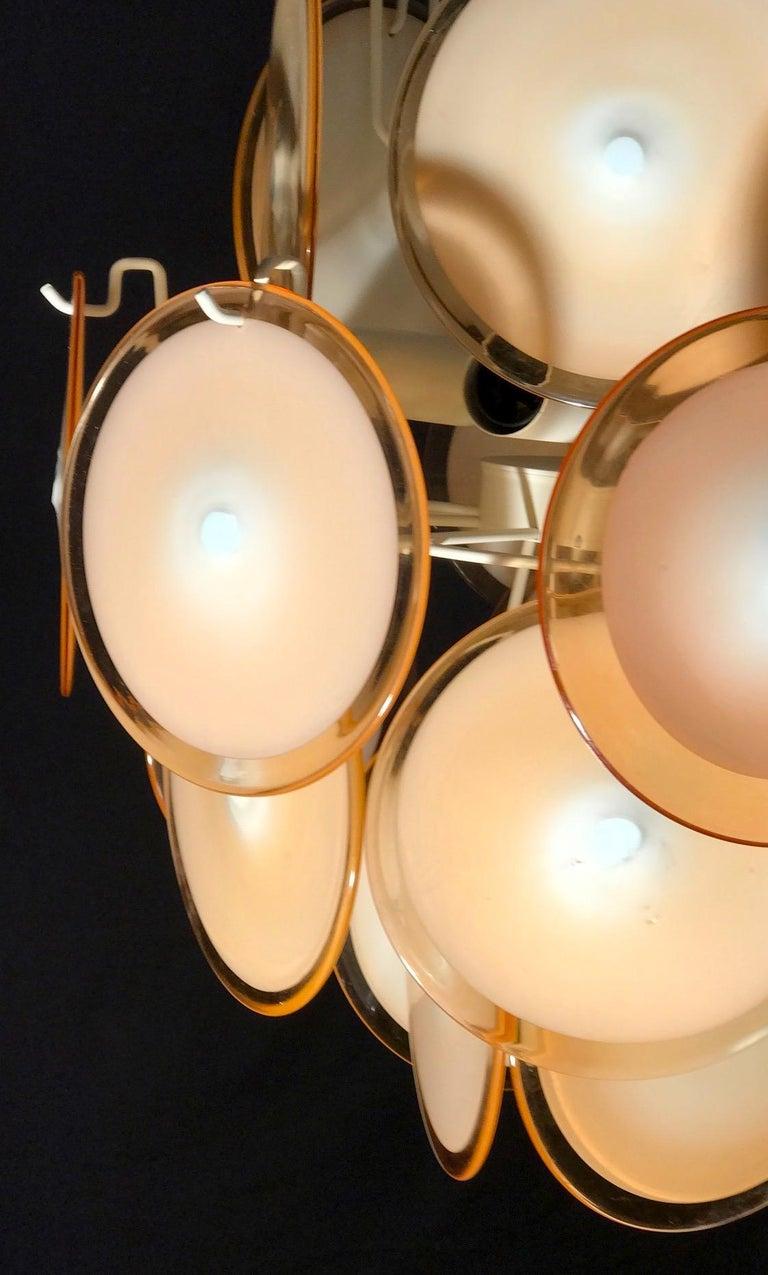 Metal Pair of Midcentury Amber Murano Glass Discs Italian Chandeliers, 1970s For Sale