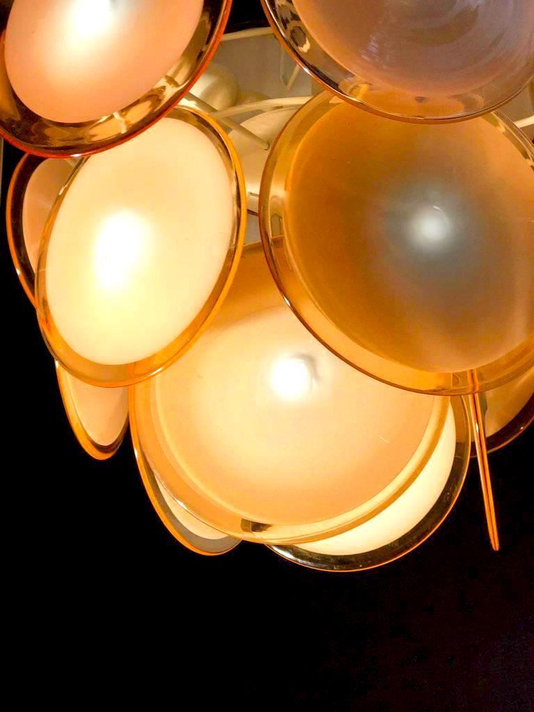 Pair of Midcentury Amber Murano Glass Discs Italian Chandeliers, 1970s For Sale 3