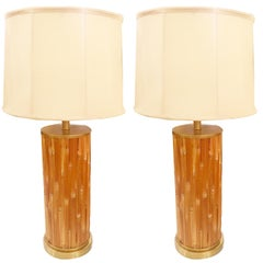 Pair of Midcentury American Bamboo Lamps