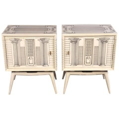 Pair of Midcentury Architectural End Tables in the Manner of Fornasetti