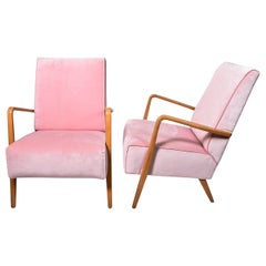 Pair of Mid-century Armchairs with Pink velvet upholstery fabric from the 1960s