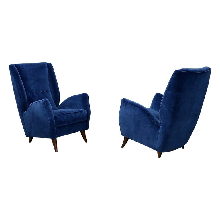 Pair of Midcentury Armchairs Attributed by Gio Ponti in Velvet, 1950s