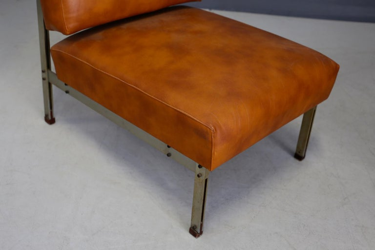 Pair of Midcentury Armchairs Style of Florence Knoll in Leather Brown, 1950 4