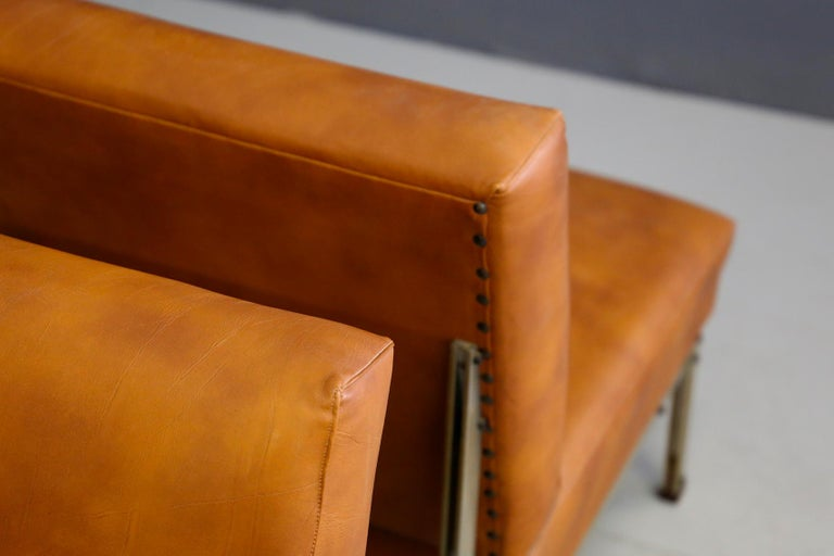 Mid-Century Modern Pair of Midcentury Armchairs Style of Florence Knoll in Leather Brown, 1950