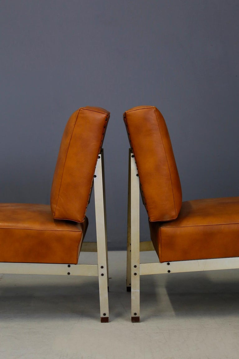 American Pair of Midcentury Armchairs Style of Florence Knoll in Leather Brown, 1950