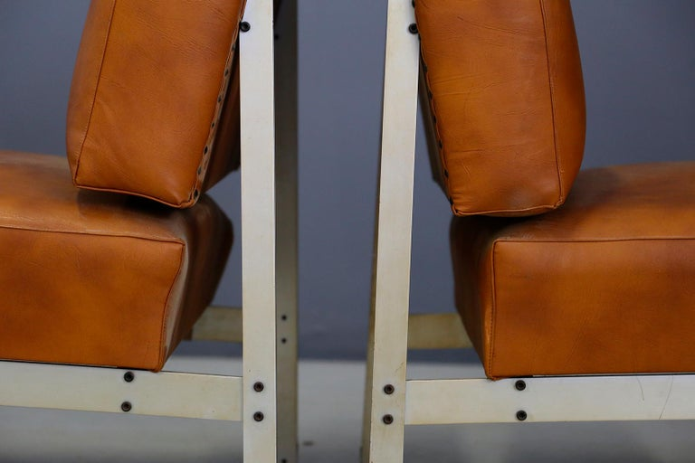Steel Pair of Midcentury Armchairs Style of Florence Knoll in Leather Brown, 1950