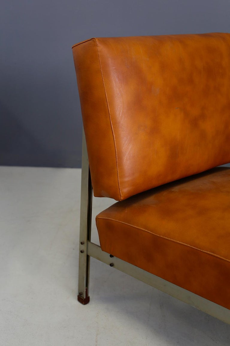 Pair of Midcentury Armchairs Style of Florence Knoll in Leather Brown, 1950 2
