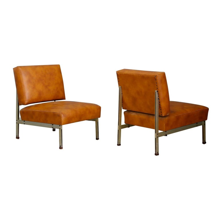 Pair of Midcentury Armchairs Style of Florence Knoll in Leather Brown, 1950
