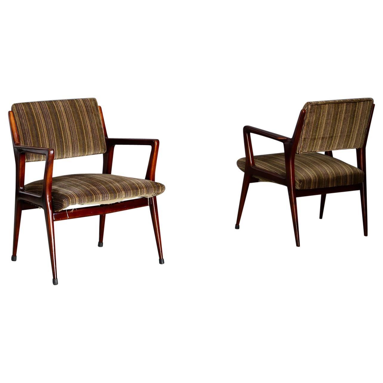 Pair of Midcentury Armchairs Attributed to Gio Ponti in Original Velvet, 1950s