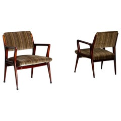 Pair of Midcentury Armchairs Attributed to Gio Ponti in Original Velvet, 1950s