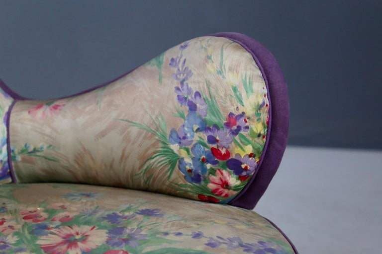 Mid-20th Century Pair of Midcentury Armchairs Attributed to Rito Valla Fabric Fede Cheti Purple For Sale
