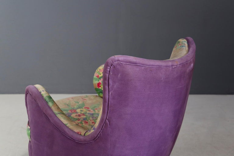 Wood Pair of Midcentury Armchairs Attributed to Rito Valla Fabric Fede Cheti Purple For Sale