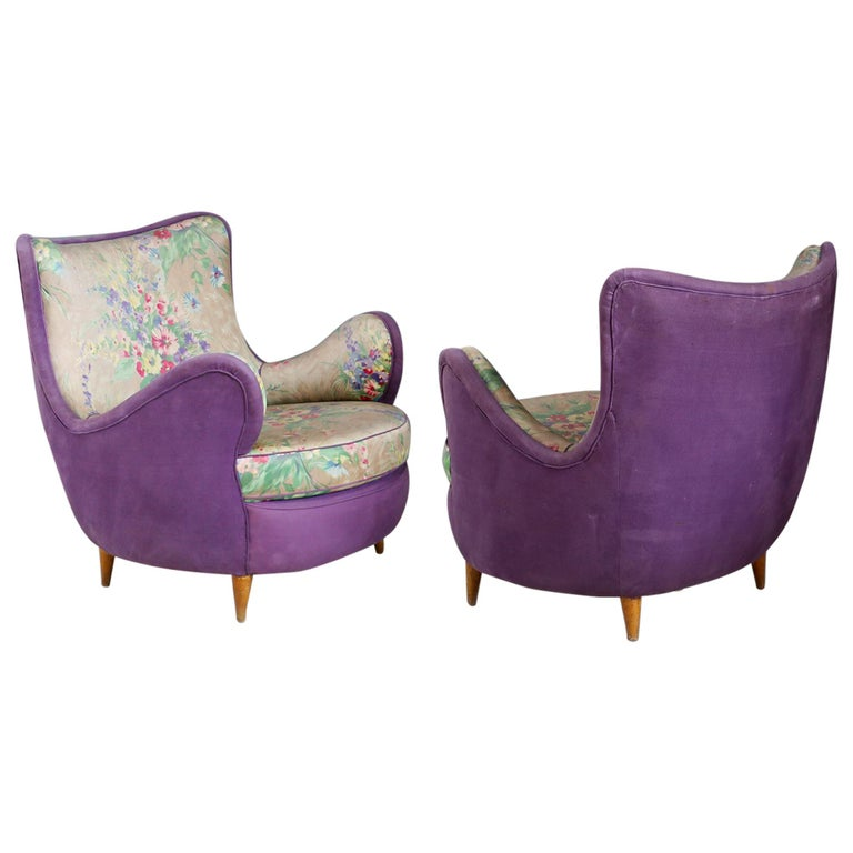 Pair of Midcentury Armchairs Attributed to Rito Valla Fabric Fede Cheti Purple For Sale