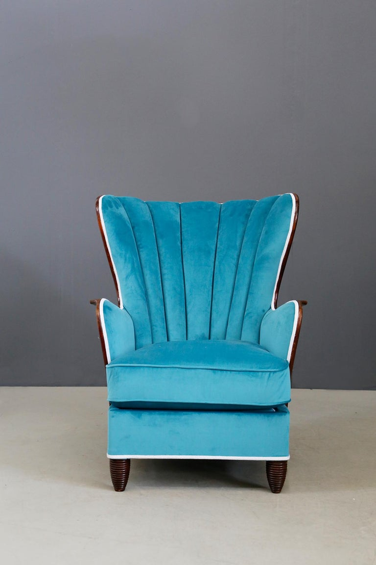 Pair of Midcentury Armchairs Blue Velvet Attributed to Paolo Buffa, 1950s For Sale 7