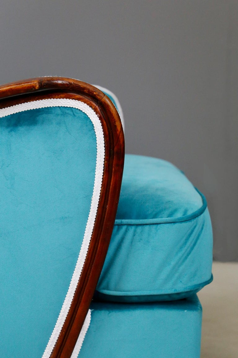 Mid-Century Modern Pair of Midcentury Armchairs Blue Velvet Attributed to Paolo Buffa, 1950s For Sale