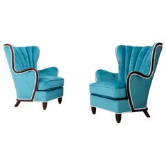Pair of Midcentury Armchairs Blue Velvet Attributed to Paolo Buffa, 1950s
