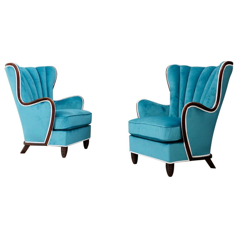Pair of Midcentury Armchairs Blue Velvet Attributed to Paolo Buffa, 1950s For Sale
