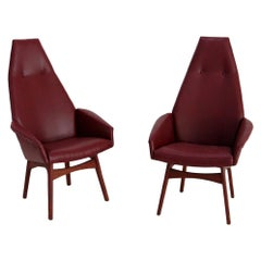 Pair of Midcentury Armchairs by Adrian Pearsall Model Capitan in Skin, 1950s