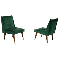 Pair of Midcentury Armchairs by Carlo Pagani in Original Fabric and Wood, 1950s