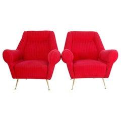 Pair of Midcentury Armchairs by Gigi Radice for Minotti, Italy