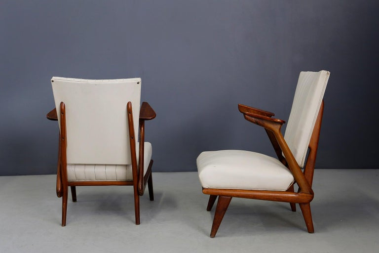 Pair of Midcentury Armchairs by Giuseppe Scapinelli in Solid Wood, 1950s For Sale 3