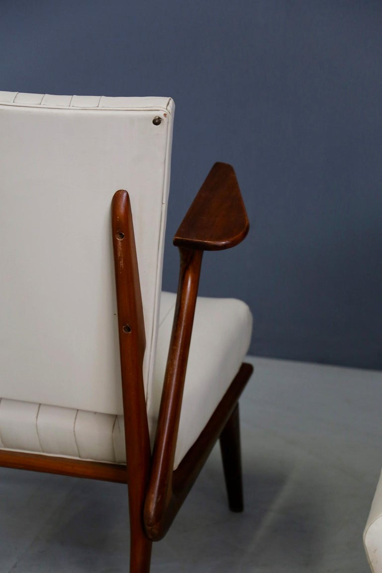 Pair of Midcentury Armchairs by Giuseppe Scapinelli in Solid Wood, 1950s For Sale 5