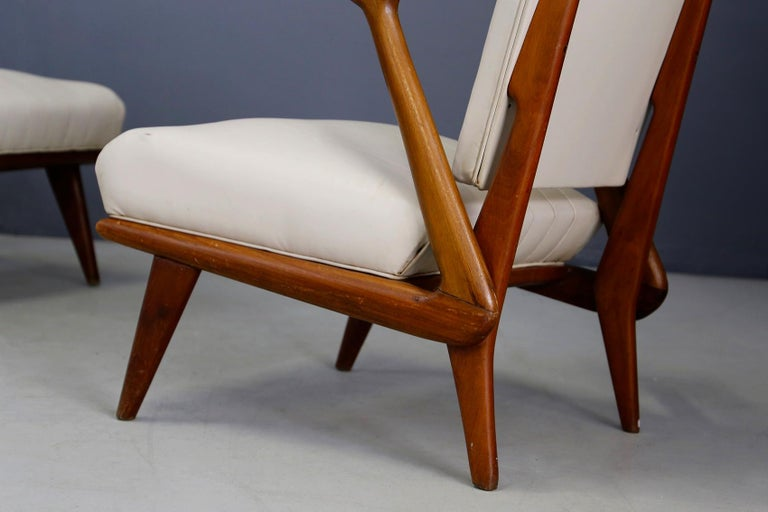 Italian Pair of Midcentury Armchairs by Giuseppe Scapinelli in Solid Wood, 1950s For Sale