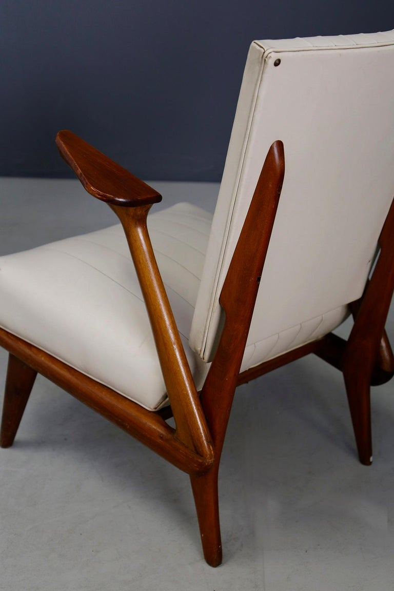 Pair of Midcentury Armchairs by Giuseppe Scapinelli in Solid Wood, 1950s For Sale 2