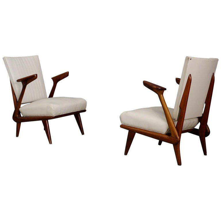 Pair of Midcentury Armchairs by Giuseppe Scapinelli in Solid Wood, 1950s For Sale