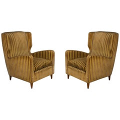 Pair of Midcentury Armchairs by Melchiorre Bega for Grand Hotel Milano, 1950s