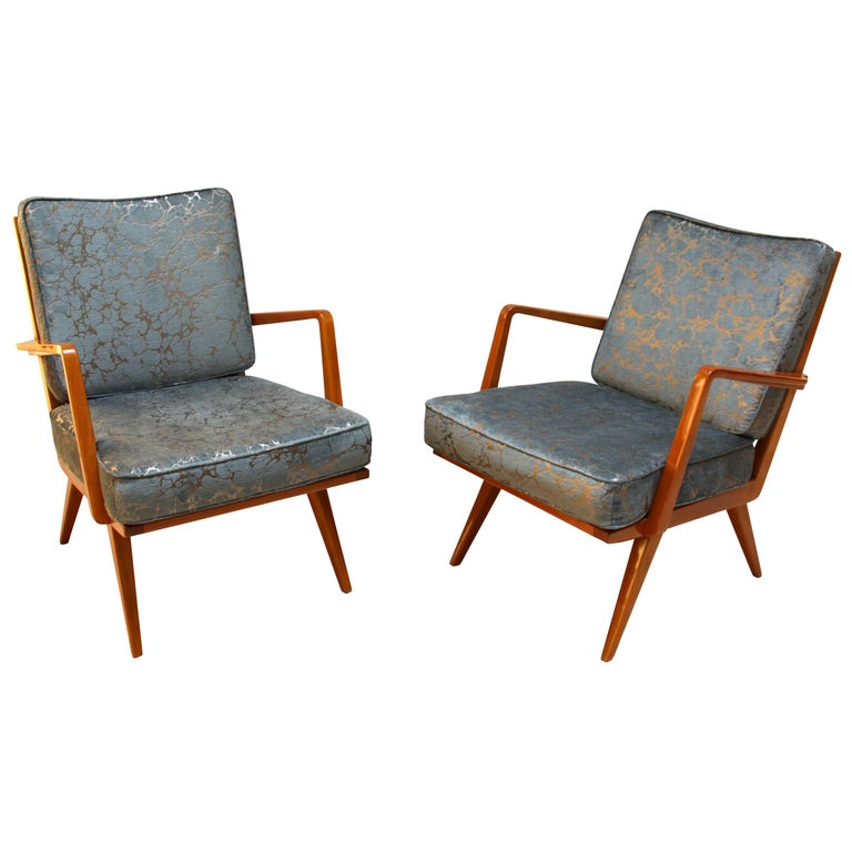 Pair of Midcentury Armchairs, Cherrywood, Blue/Silver Fabric, Germany, 1950s For Sale