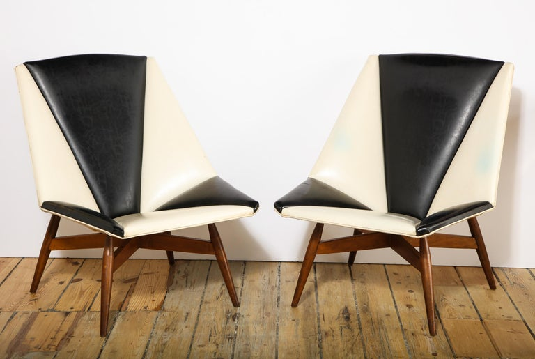 Large and unusual pair of American armchairs in the manner of Gio Ponti, all original upholstery and finish. I've never seen another pair aside at a colleague that had them years ago. Possibly a small run by Craft Associates, definitely an original