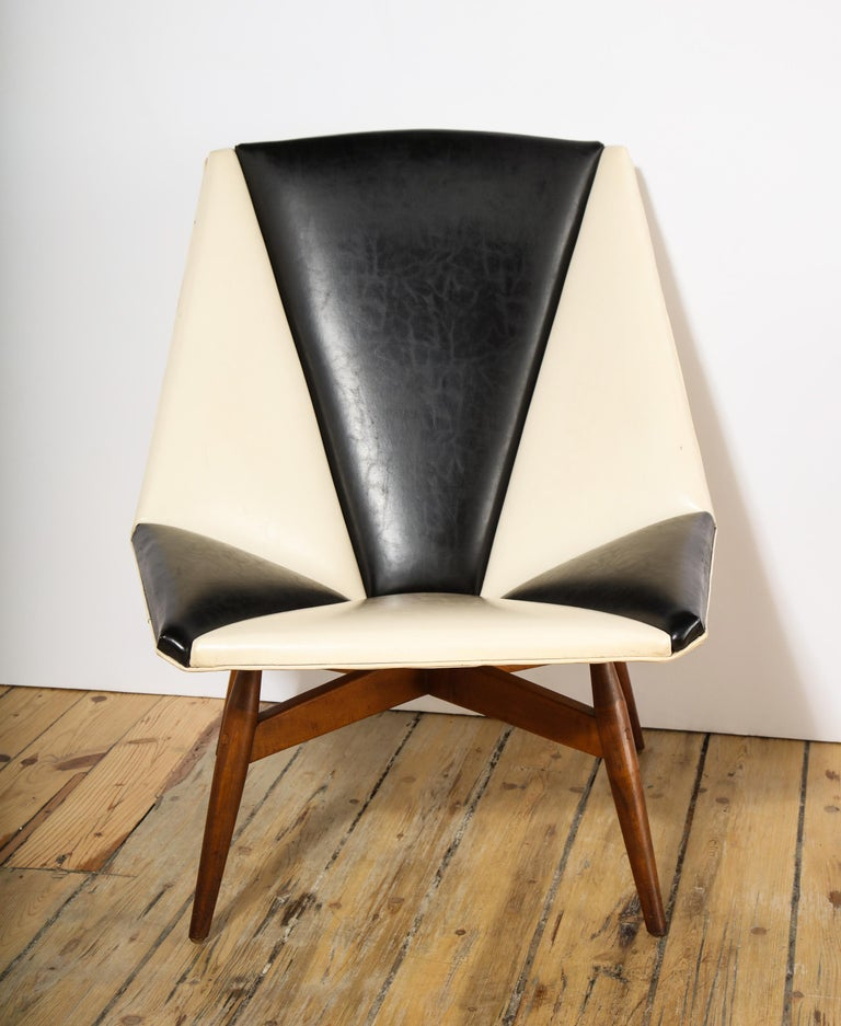 Faux Leather Pair of Midcentury Armchairs For Sale