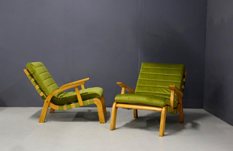 Velvet Pair of Midcentury Armchairs Gustavo Pulitzer and Giorgio Lacht, 1930s For Sale