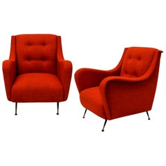 Pair of Midcentury Armchairs in Burnt Orange
