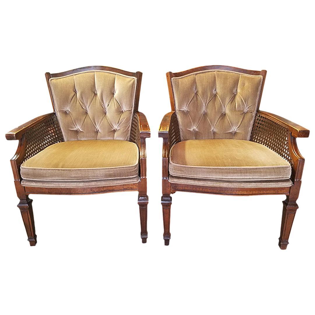 Pair of Midcentury Armchairs in Gold Velvet Upholstery