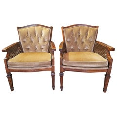 Pair of Midcentury Armchairs in Gold Velvet Upholstery
