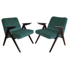 Pair of Midcentury Armchairs in Green Velvet, 1970s