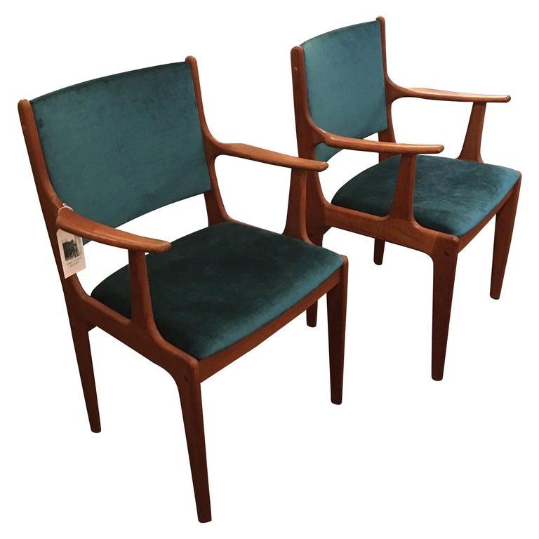 Pair of Midcentury Armchairs in Peacock Silk Velvet