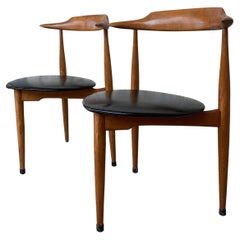 Pair of Midcentury Armchairs in Solid Cherrywood with Leather Seat