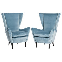 Pair of Midcentury Armchairs in Turquoise-Acqua Velvet by ISA, Bergamo