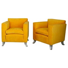 Pair of Midcentury Armchairs Melchiorre Bega of Yellow Velvet Numbered from 1938
