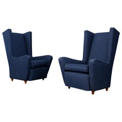 Pair of Midcentury Armchairs Paolo Buffa in Cotton Linen Fabric, 1950s