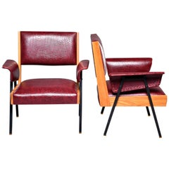 Pair of Midcentury Armchairs with Wood Frames and Metal Legs
