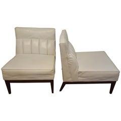 Pair of Midcentury Armless Slipper Chairs